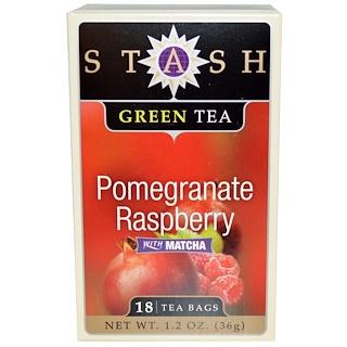 Stash Tea, Зеленый чай высшего сорта, гранат и малина, с чаем маття, 18 чайных пакетиков, 1,2 унции (36 г)