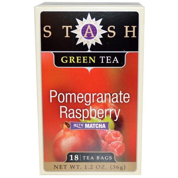 Stash Tea, Premium, Green Tea, Pomegranate Raspberry, With Matcha, 18 Tea Bags, 1.2 oz (36 g)