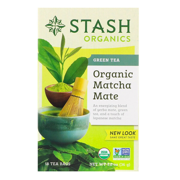 Stash Tea, Green Tea, Organic Matcha Mate, 18 Tea Bags, 1.2 oz (36 g) (Discontinued Item)