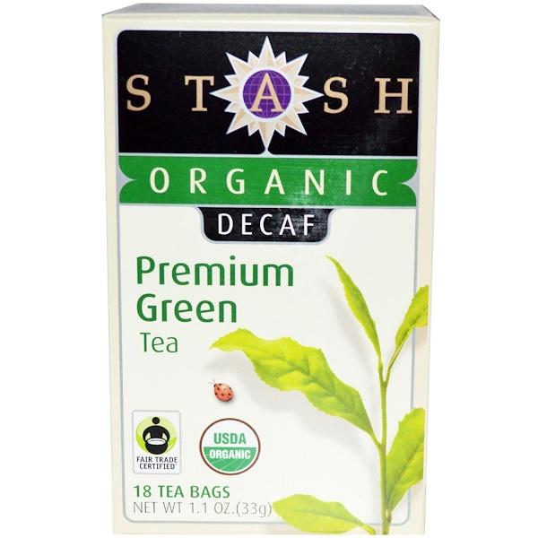 Stash Tea, Органический, высший сорт, без кофеина, зеленый чай высшего сорта, 18 чайных пакетиков, 1,1 унции (33 г) (Discontinued Item)
