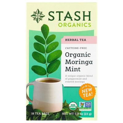 Stash Tea Травяной чай, органическая моринга и мята, без кофеина, 18 чайных пакетиков, 0, 8 унц. (23 г)  - купить со скидкой