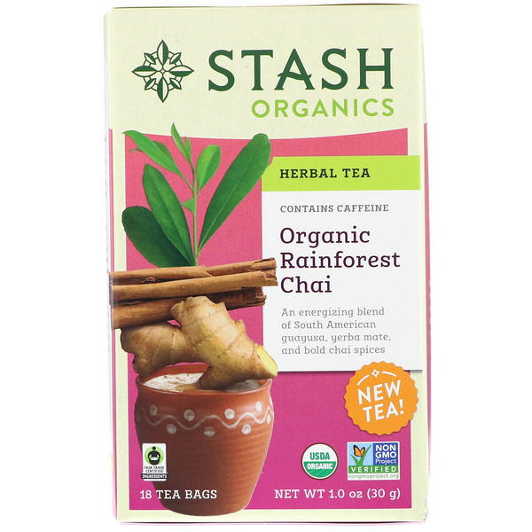 Stash Tea, Herbal Tea, Organic Rainforest Chai, Caffeine-Free , 18 Tea Bags, 1.0 oz (30 g)