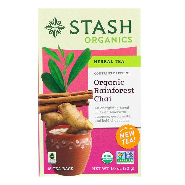 Herbal Tea, Organic Rainforest Chai, Caffeine-Free , 18 Tea Bags, 1.0 oz (30 g)