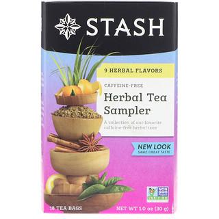 Stash Tea, ハーブティー詰合せ, カフェインフリー, 9種の風味, 18ティーバッグ, 1.0オンス(30 g)
