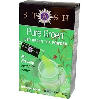 Stash Tea, Iced Green Tea Powder, Pure Green, 10 Powder Sticks, 0.7 oz (20 g)