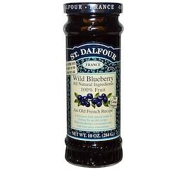 St. Dalfour, 와일드 블루베리, 디럭스 와일드 블루베리 잼, 10 oz (284 g)