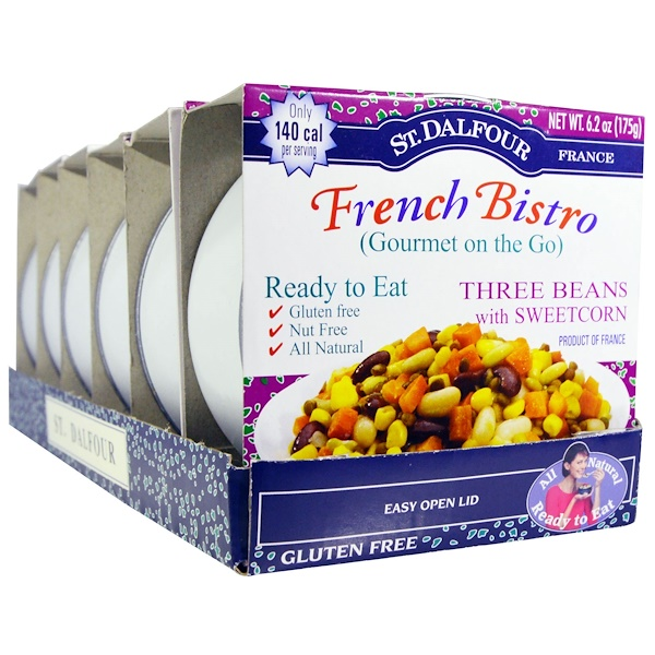 St. Dalfour, French Bistro (Gourmet on the Go), Three Beans with Sweetcorn, 6 Pack, 6.2 oz (175 g) Each (Discontinued Item)