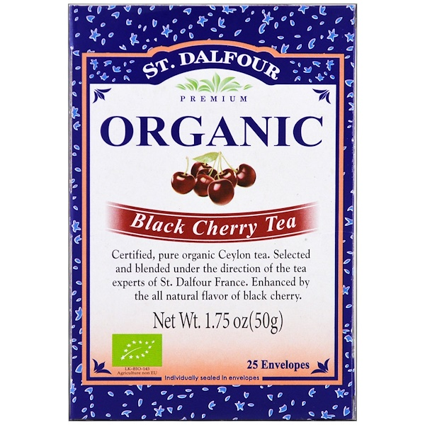 St. Dalfour, Organic, Black Cherry Tea, 25 Envelopes, 1.75 oz (50 g) (Discontinued Item)