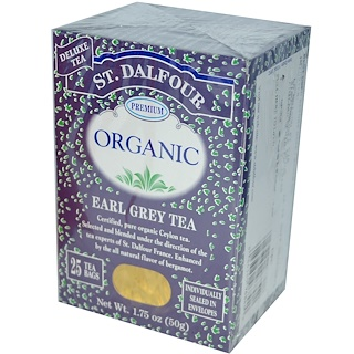 St. Dalfour, Органический чай Earl Grey, 25 чайных пакетов, 1.75 унций (50 г)
