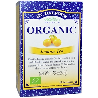 St. Dalfour, Organic, Lemon Tea、25袋、1.75 oz (50 g)