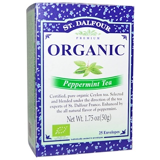 St. Dalfour, Peppermint Tea, 25 Tea Bags, 1.75 oz (50 g)