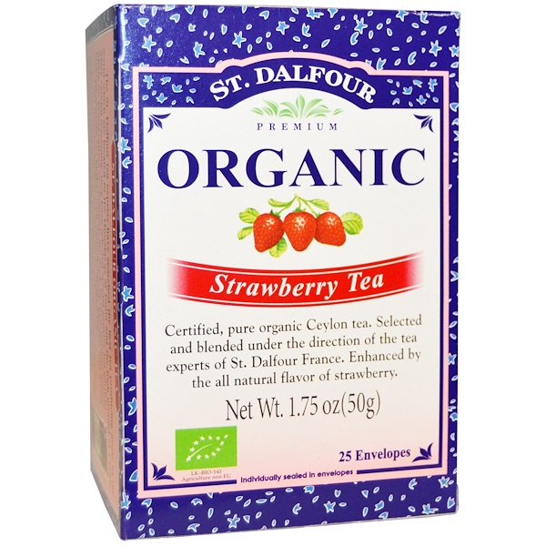 St. Dalfour, サンダルフォー, Organic, Strawberry Tea, 25 Tea Bags, 1.75 oz (50 g)