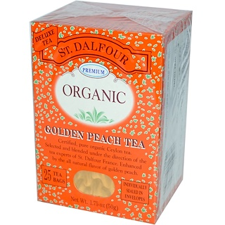 St. Dalfour, Organic, Golden Peach Tea, 25 Tea Bags, 1.75 oz (50 g)