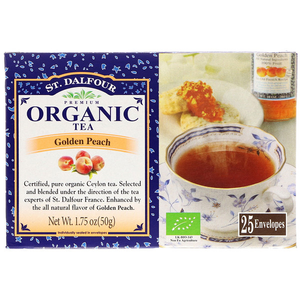 St. Dalfour, Organic Golden Peach Tea, 25 Envelopes, 1.75 oz (50 g) (Discontinued Item)