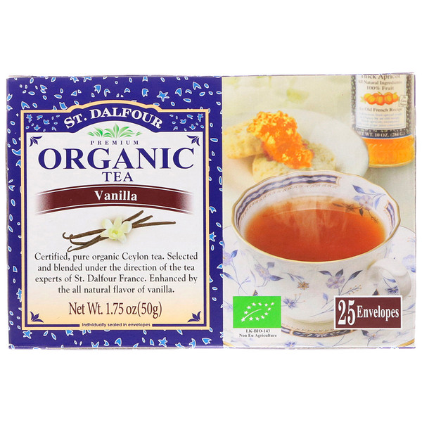 St. Dalfour, Organic Tea, Vanilla, 25 Envelopes, 1.75 oz (50 g) (Discontinued Item)