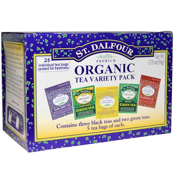St. Dalfour, Organic Tea Variety Pack, 25 Tea Bags, 1.75 oz (50 g) (Discontinued Item)