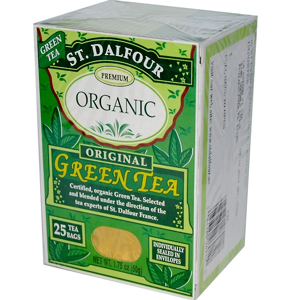 St. Dalfour, Organic, Original Green Tea, 25 Tea Bags, 1.75 oz (50 g) (Discontinued Item)