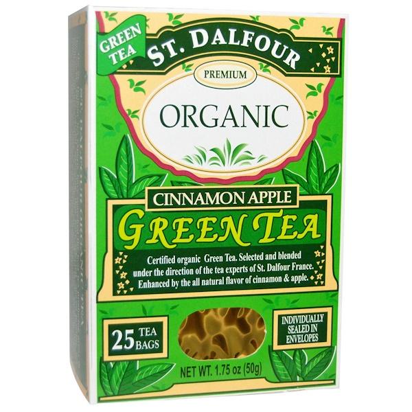 St、 Dalfour, 肉桂蘋果風味綠茶,1、75盎司(50克),25茶包