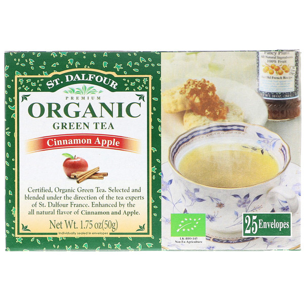 St. Dalfour, Organic, Green Tea, Cinnamon Apple, 25 Tea Bags, 1.75 oz (50 g) (Discontinued Item)