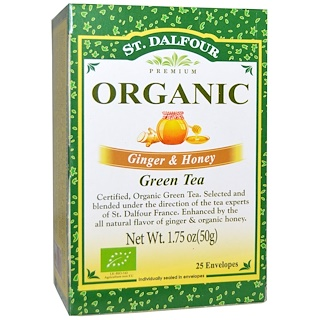 St. Dalfour, Organic Green Tea, Ginger & Honey, 25 Tea Bags, (.07 oz (2 g) Each