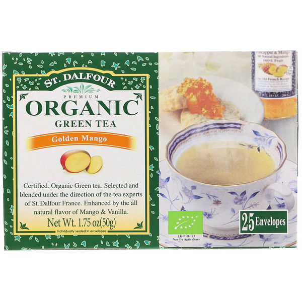 St. Dalfour, Organic, Green Tea, Golden Mango, 25 Envelopes, 1.75 oz (50 g) (Discontinued Item)