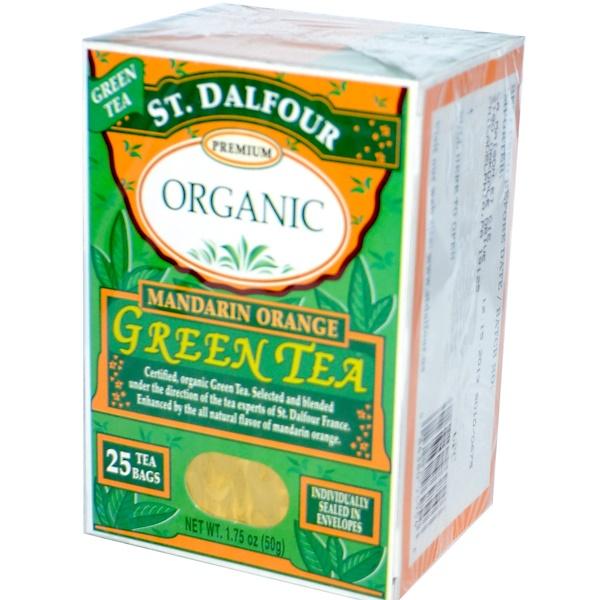 St. Dalfour, Органика, Зеленый чай, Мандарин, 25 чайных пакетиков, 1,75 унции (50 г)