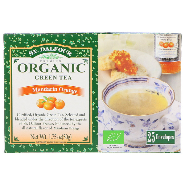 St. Dalfour, Organic, Green Tea, Mandarin Orange, 25 Envelopes, 1.75 oz (50 g)