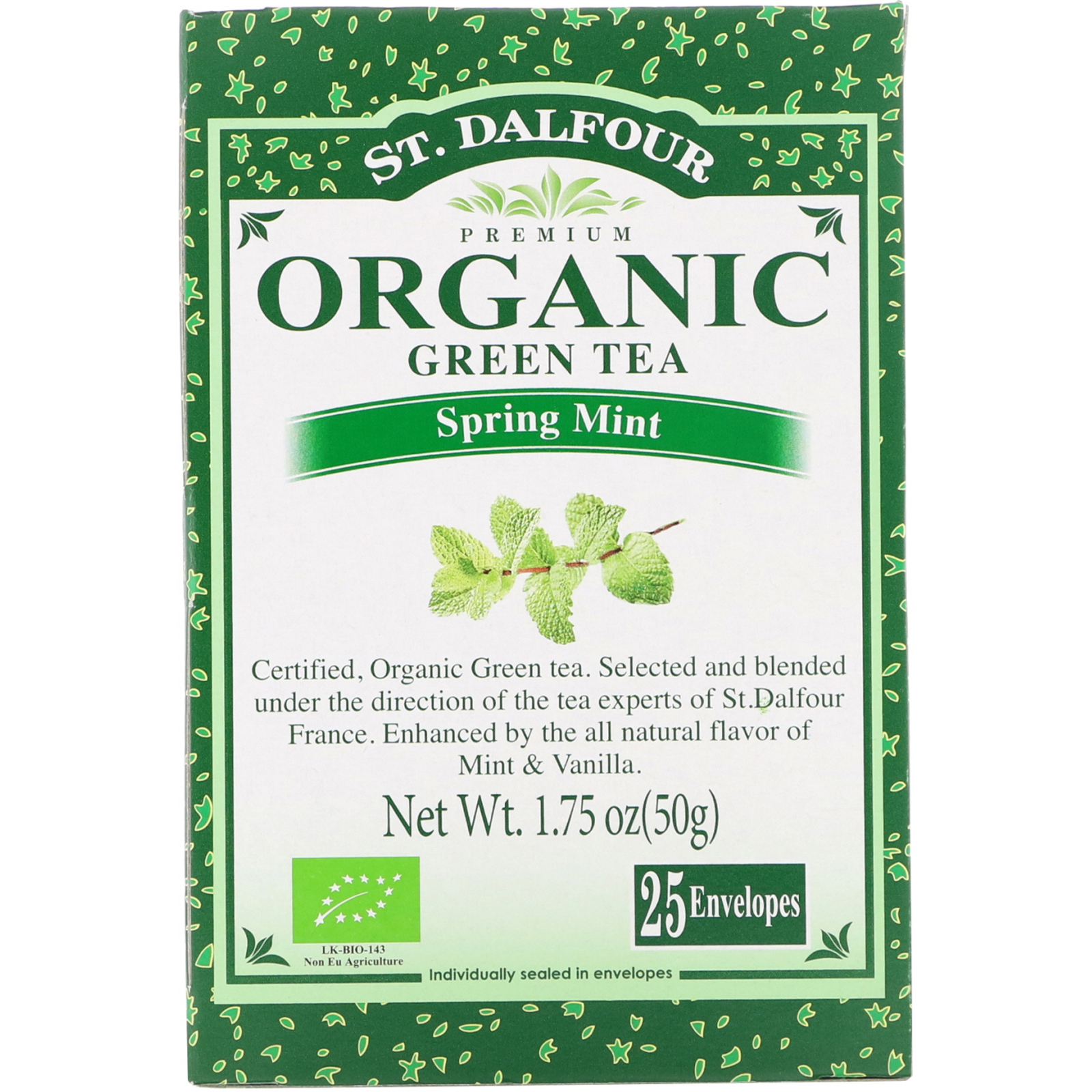 St. Dalfour, Organic Green Tea, Spring Mint, 25 Envelopes, 1.75 oz (50 g) -  iHerb