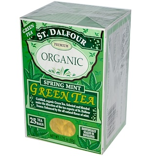 St. Dalfour, Organic, Spring Mint Green Tea, 25 Tea Bags, 1.75 oz (50 g)