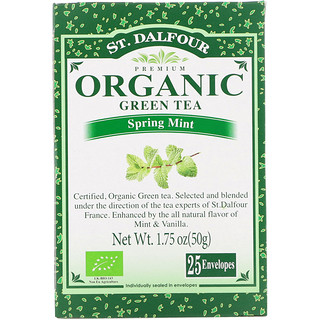 St. Dalfour, Organic Green Tea, Spring Mint, 25 Envelopes, 1.75 oz (50 g)