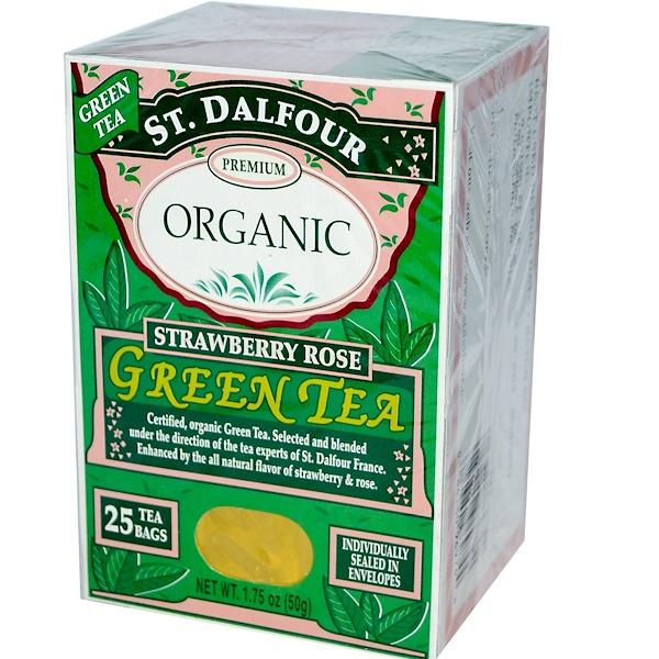 St. Dalfour, Органическая продукция, Зеленый чай с клубникой и розой, 25 чайных пакетиков, 1,75 унции (50 г)