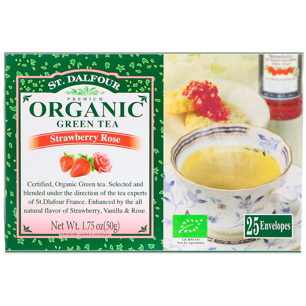 St. Dalfour, Organic, Green Tea, Strawberry Rose, 25 Envelopes, 1.75 oz (50 g) (Discontinued Item)