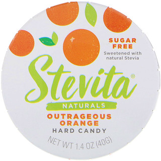Stevita, Naturals, Sugar Free Hard Candy, Outrageous Orange, 1.4 oz (40 g)