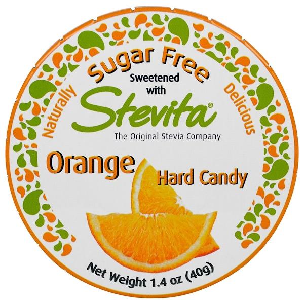 Stevita, 橙子味硬糖,無糖,1、4盎司(40克)