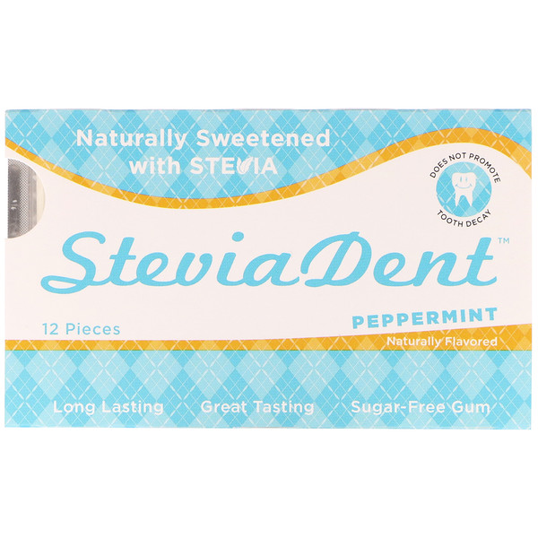 Stevita, SteviaDent, Sugar-Free Gum, Peppermint, 12 Pieces (Discontinued Item)