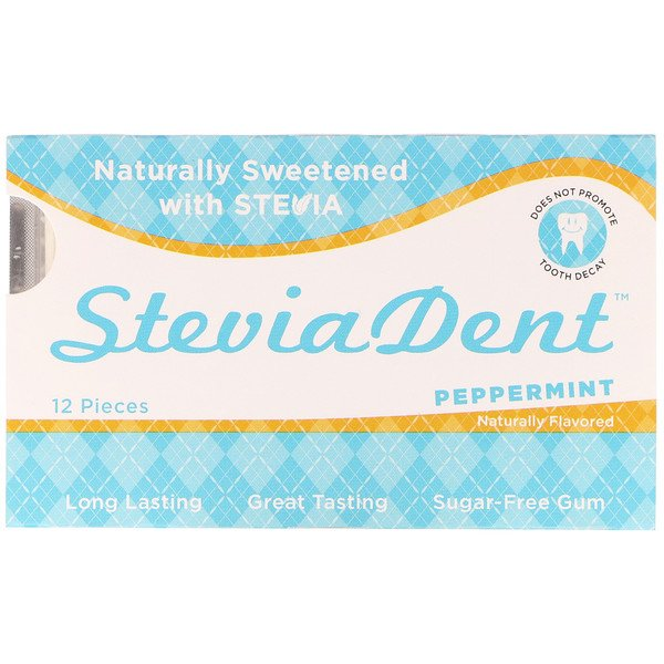 Stevita, SteviaDent, Sugar-Free Gum, Peppermint, 12 Pieces