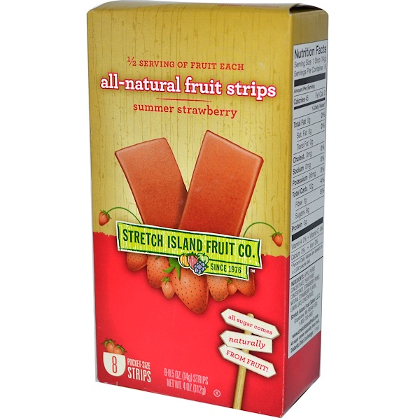 Stretch Island, All-Natural Fruit Strips, Summer Strawberry, 8 Pocket-Size Strips, 0.5 oz (14 g) Each (Discontinued Item)