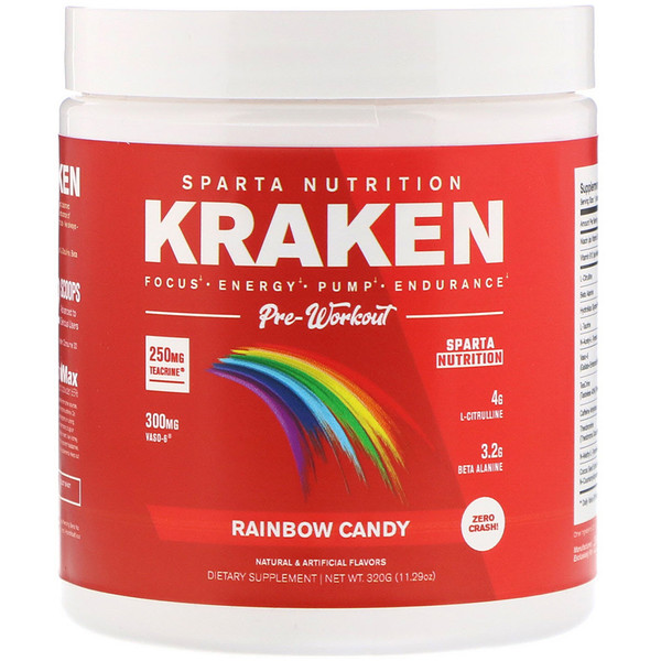 Sparta Nutrition, Kraken Pre-Workout, Rainbow Candy, 11.29 oz (320 g) (Discontinued Item)