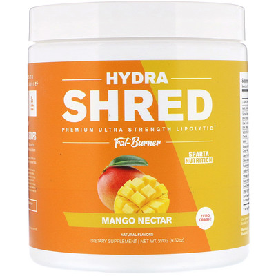 Sparta Nutrition Hydra Shred, Premium Ultra Strength Lipolytic Fat Burner, Mango Nectar, 9.52 oz (270 g)