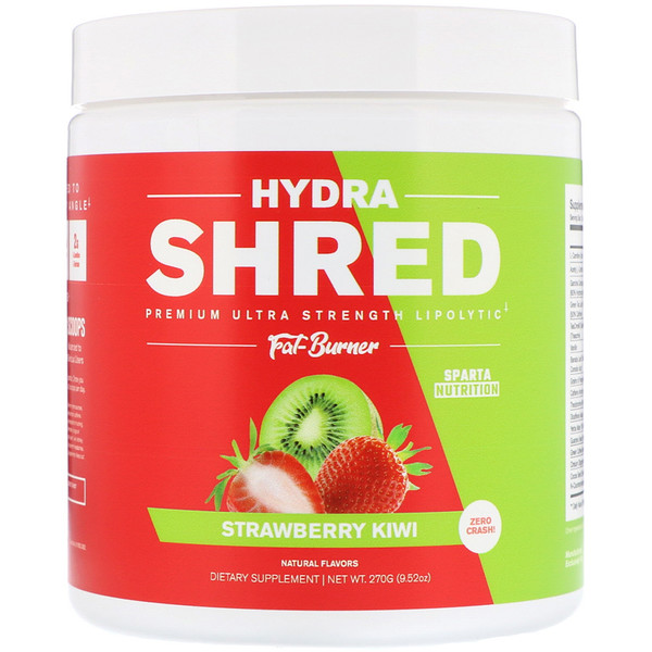 Sparta Nutrition, Hydra Shred Premium Ultra Strength Lipolytic Fat Burner, Strawberry Kiwi, 9、52 oz (270 g)