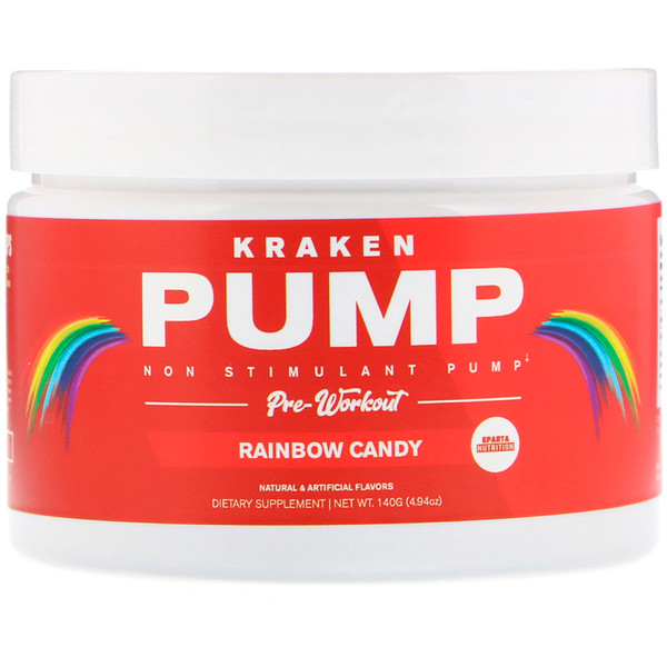 Sparta Nutrition, Kraken Pump, Non-Stimulant Pre-Workout, Rainbow Candy, 4.94 oz (140 g)
