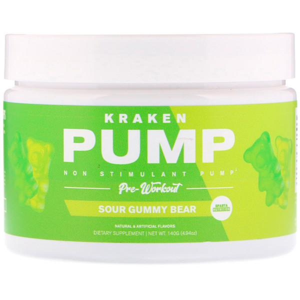 Sparta Nutrition, Kraken Pump, Non-Stimulant Pre-Workout, Sour Gummy Bear, 4.94 oz (140 g)