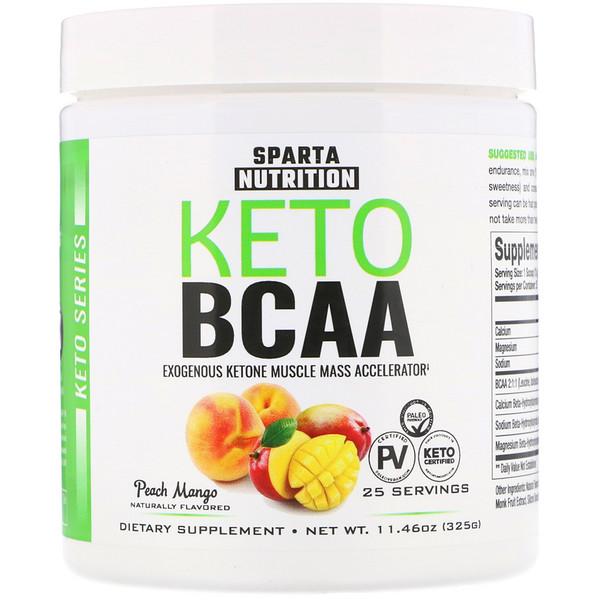Sparta Nutrition, Keto Series, Keto BCAA, Peach Mango, 11.46 oz (325 g) (Discontinued Item)