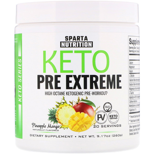 Sparta Nutrition, Keto Series, Keto Pre Extreme, Pineapple Mango, 9.17 oz (260 g) (Discontinued Item)