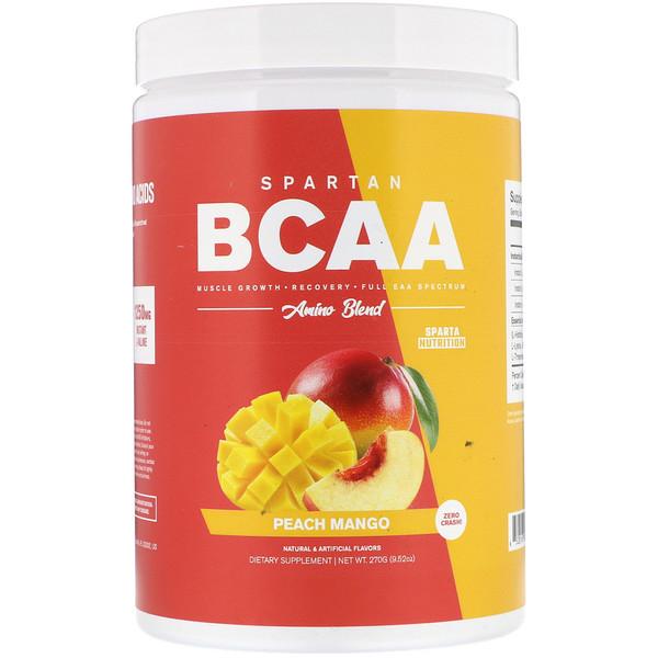 Sparta Nutrition, Спартанские аминокислоты с разветвлённой цепью, Сочетание аминокислот, Персик и манго, 9,52 унц. (270 г) (Discontinued Item)
