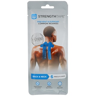 Strengthtape, Kinesiology Tape, Back & Neck, 6 Precut Strips
