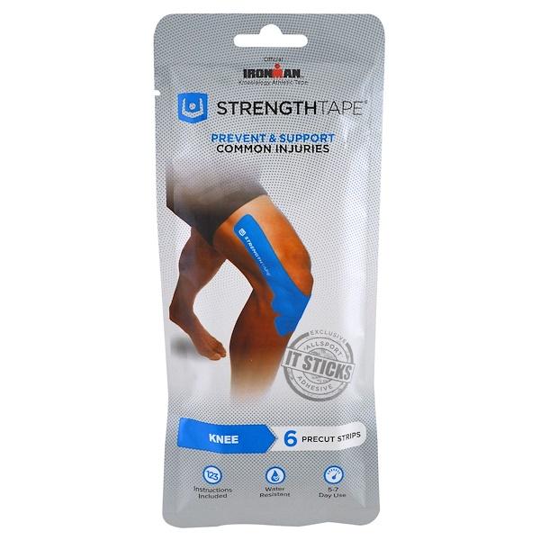 Strengthtape, キネシオロジー・アスレチックテープ、膝用、プレカットテープ6枚入
