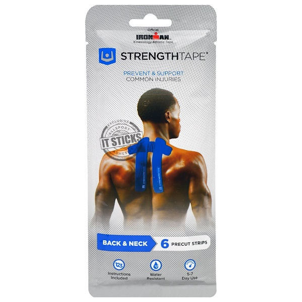 Strengthtape, Kinesiology Tape, Back & Neck, 6 Precut Strips (Discontinued Item)