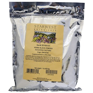 Starwest Botanicals, Henna Black Powder, 1 lb (453.6 g)