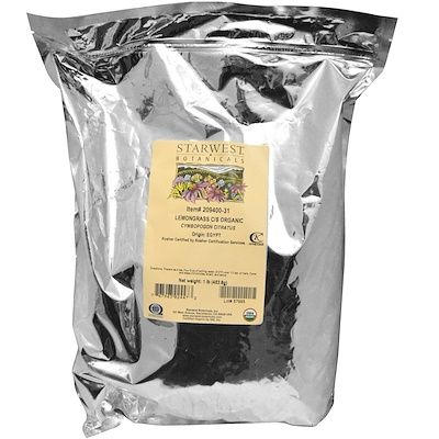 Купить Органический лемонграсс, измельченный и просеянный, 1 фунт (453, 6 г)
